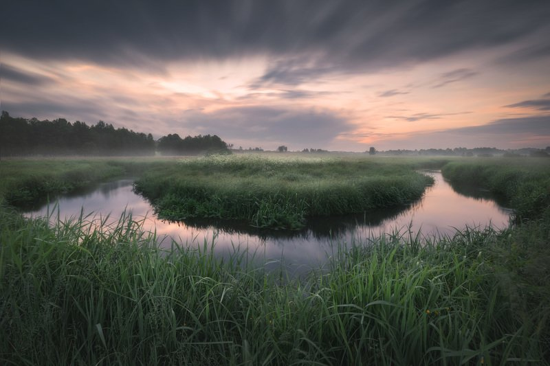 river sunrise mist fog mood sky clouds Podlasie Poland Podlasie horseshoe bendphoto preview