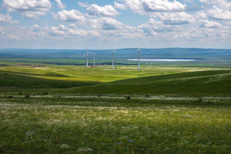 ставропольский край, ставрополье, степь, лён, весна, степное, кочубеевской вэс, ветропарк, энергия, ветроэлектростанция, Степь на фоне ветропаркаphoto preview