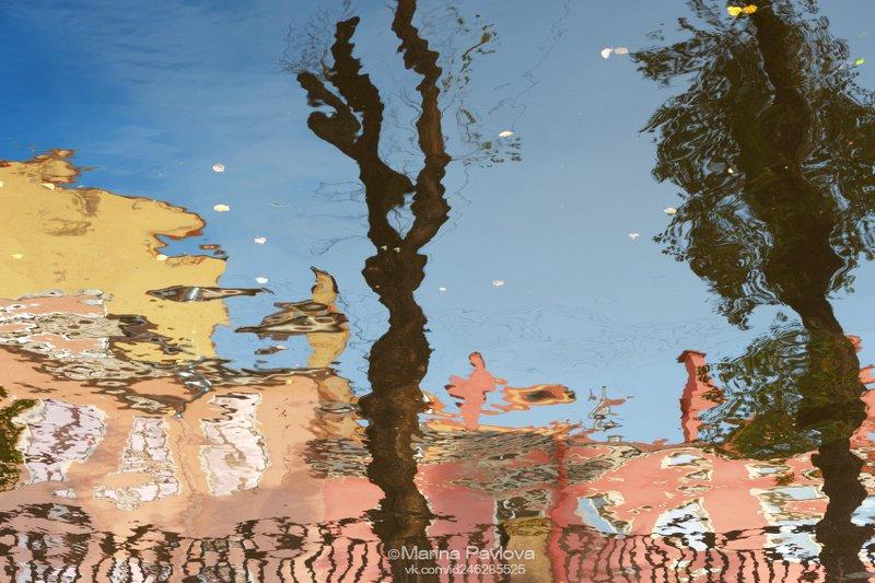 акваабстракция, абстракция, петербургские акварели, отражения на воде, парейдолия,канал грибоедова, санкт-петербург, город Удивлённый питерский лось...photo preview