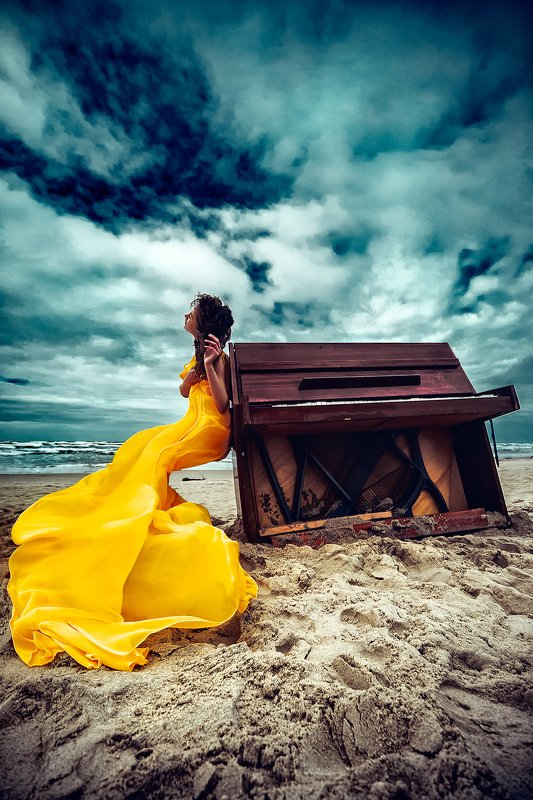 woman, beauty, fashion, art, outdoors Melody of the Stormphoto preview