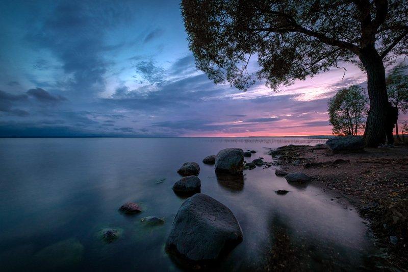 закат, озеро, фронт, гроза, ветер, облака, плещеево, переславль Идет грозовой фронт фото превью