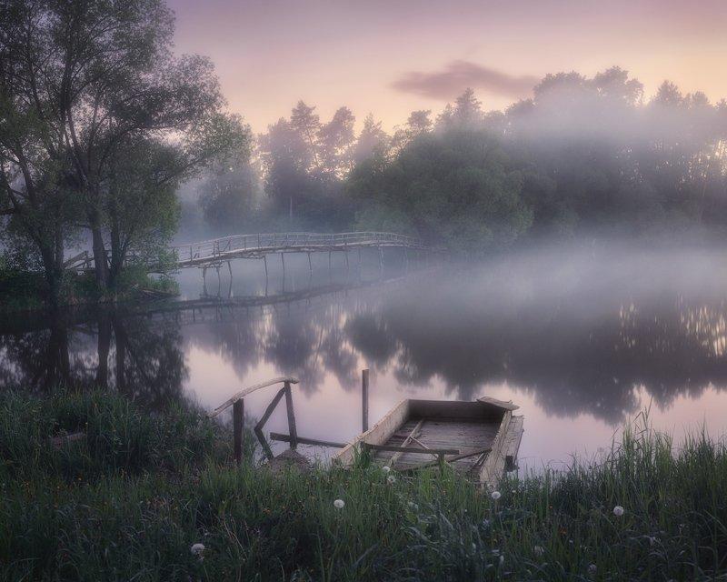 туман, пруд, мост, река, лето Деревенские сумеркиphoto preview