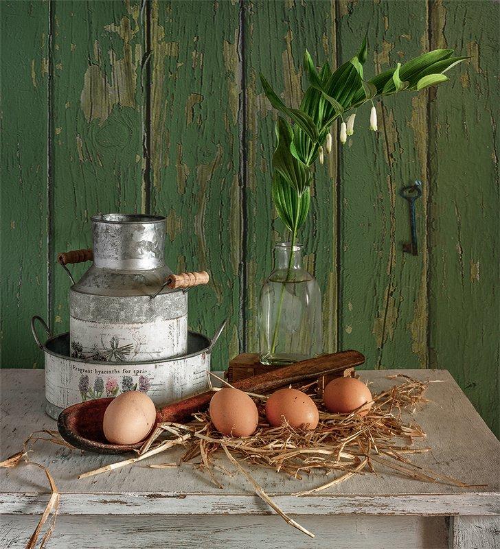 still life, натюрморт,    винтаж,    цветы,  яйца, еда, посуда, деревенский натюрмортphoto preview