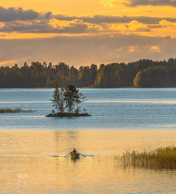 ленинградская область, закат, лотка, плавание, остров, вуокса, озеро, сосна, отдых, лето, Летнее плаваниеphoto preview