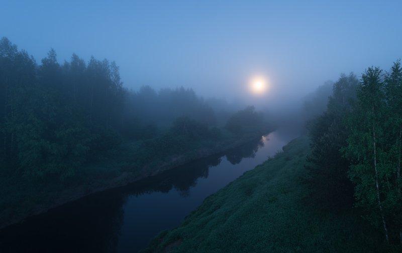 луна, туман, полнолуние, новгородская область Луна в туманеphoto preview