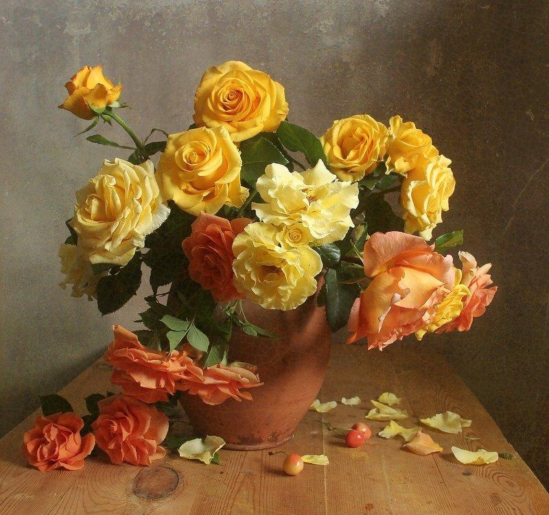 лето,  цветы, натюрморт, марина филатова, розы, букет цветов Растворилась нежность солнечных лучейphoto preview