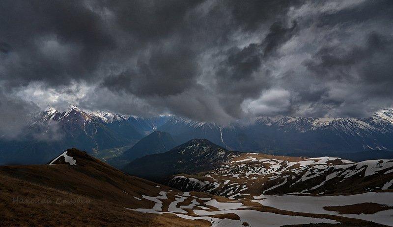 кавказ, горы, облака, архыз Небо висящееphoto preview