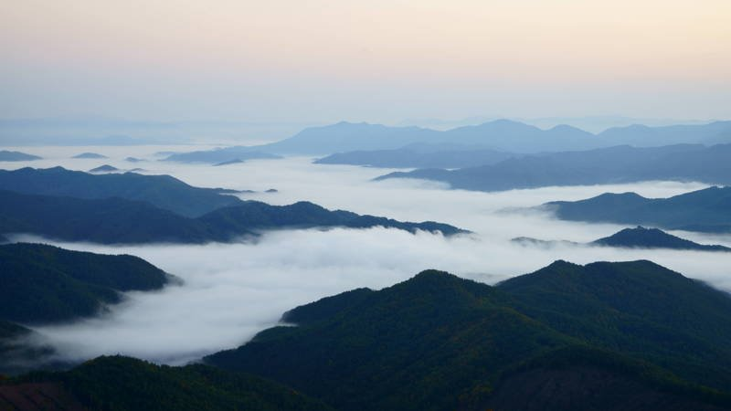south korea, gyeongsangbukdo,dawn,mountain,clouds,morning, landscape, autumn, Clouds under the mountainphoto preview