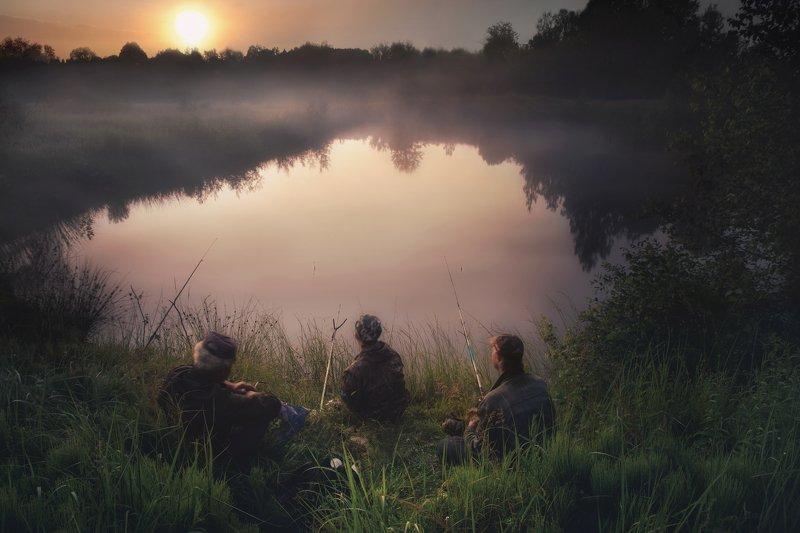 природа, пейзаж, утро, рыбалка, туман, солнце, nature, landscape, morning, fishing, fog, sun Рыбакиphoto preview