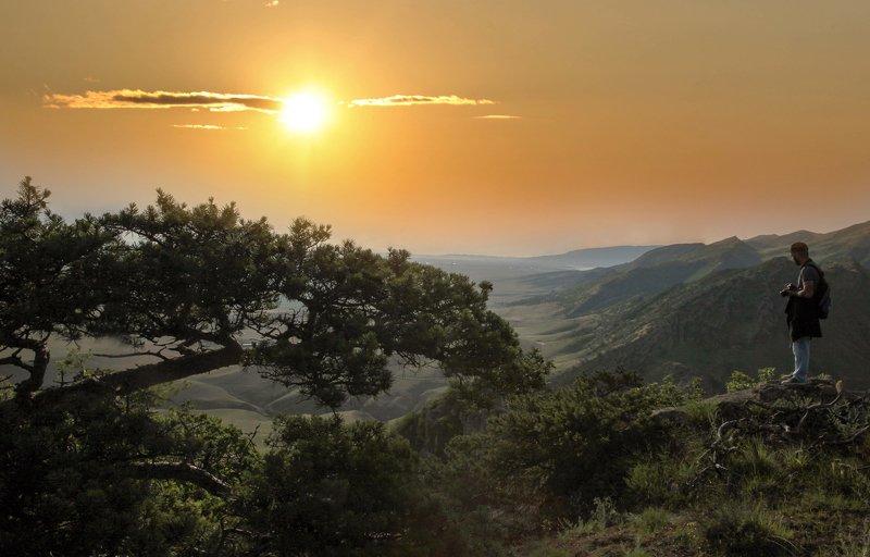 утро,рассвет,горы,вершины,пейзаж,небо,деревья,дагестан,природа Утренний пейзаж..photo preview