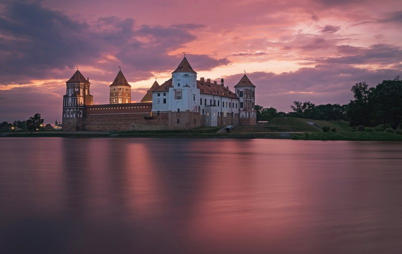 закат, замок, мир, лето Мирский замок на закатеphoto preview