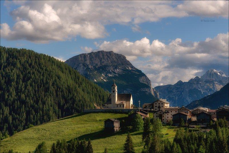 доломитовые альпы,selva di cadore,деревня,лето,италия,alps,церквушка Летний вечерphoto preview