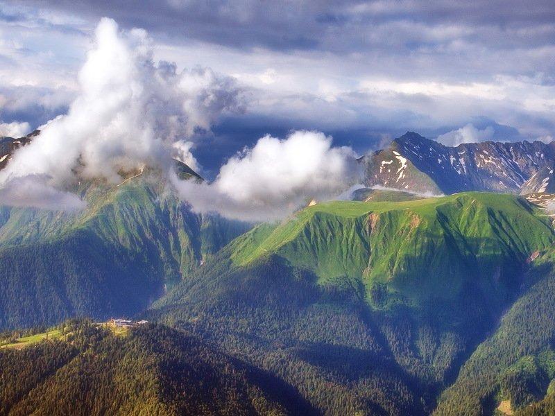 горы плато облака Плато Табунноеphoto preview