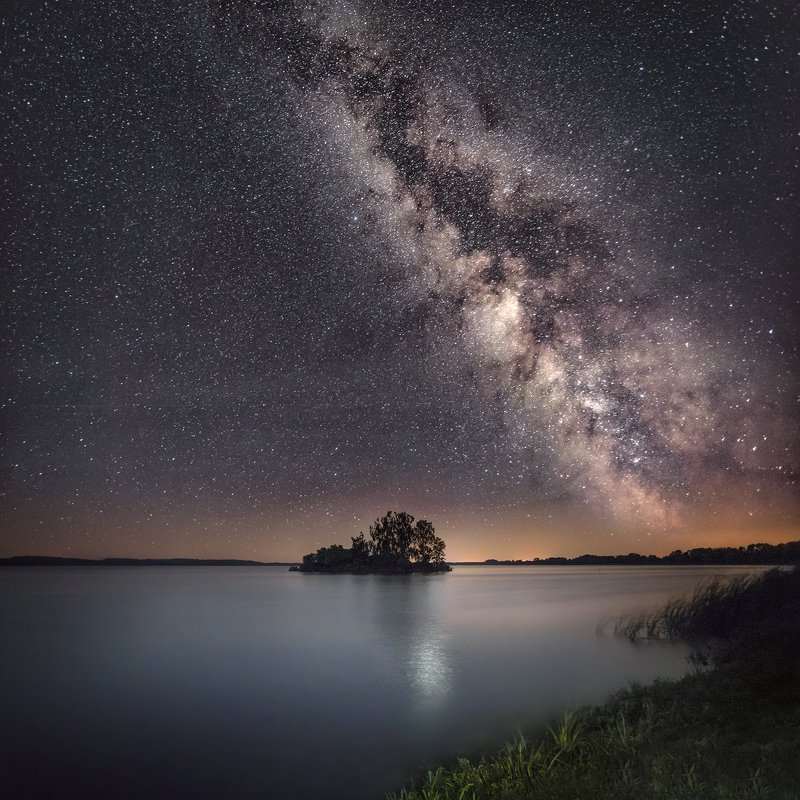 night, sky, milky way, lake, star, stars, poland, Lublin,  Milky way over the lakephoto preview