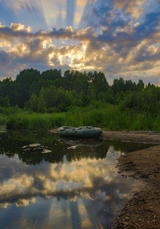 закат лучи протока лес отражение На закатеphoto preview