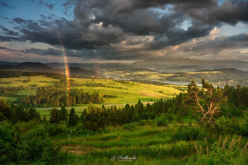 landscape, rainbow, mountains, clouds, stormy, sunset Between thundersphoto preview