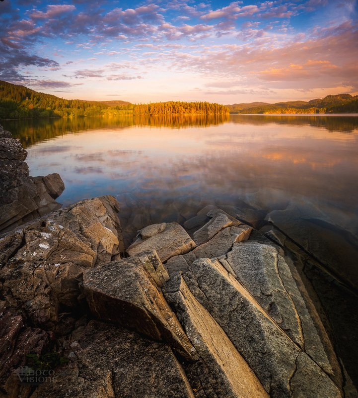 sunset,lake,forest,nature,sky,reflections,norway, Silenciumphoto preview