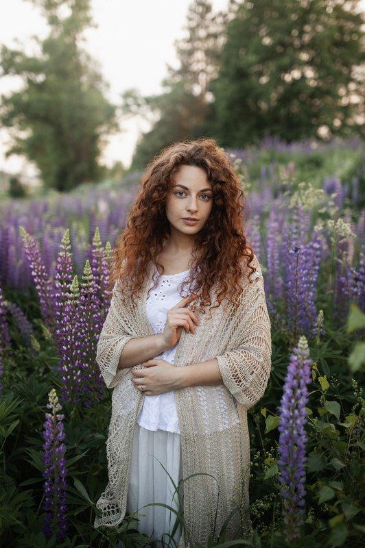 люпины, лето, портрет, девушка Люпиновый вечерphoto preview
