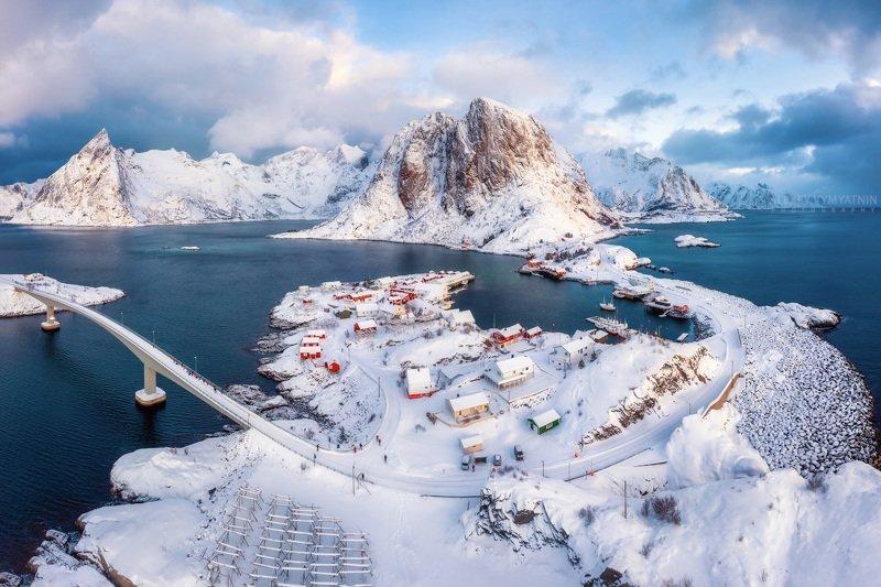 hamnoy, norvegia, lofoten, islands, winter, outdoor, village, drone Лофотенская классика фото превью