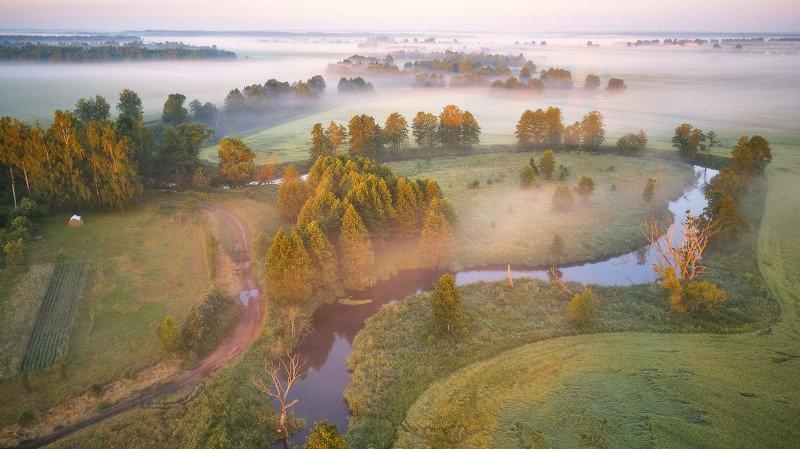 беларусь, дронофото, лето, минск и окрестности, рассвет, туман, уса, утро Июнь. Утро на Усе фото превью