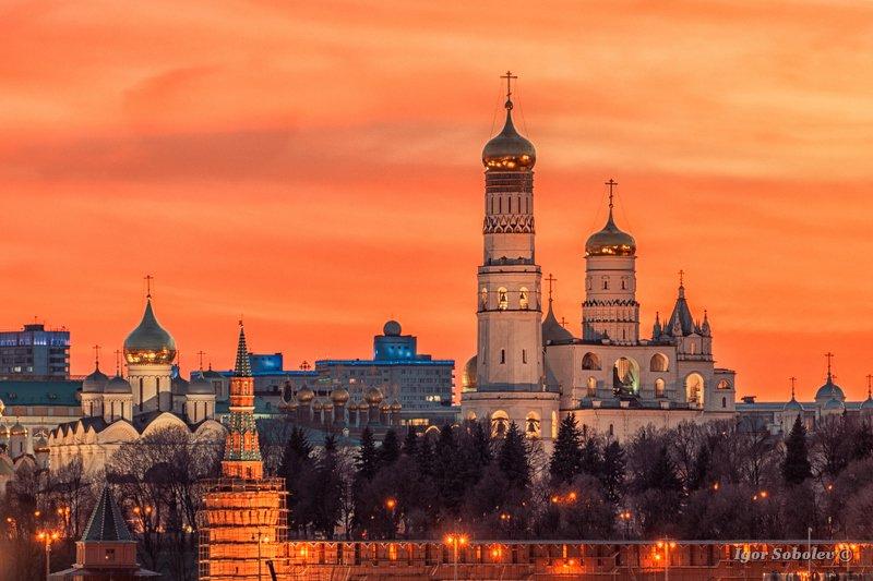 кремль, закат, москва Закат над Кремлем.photo preview