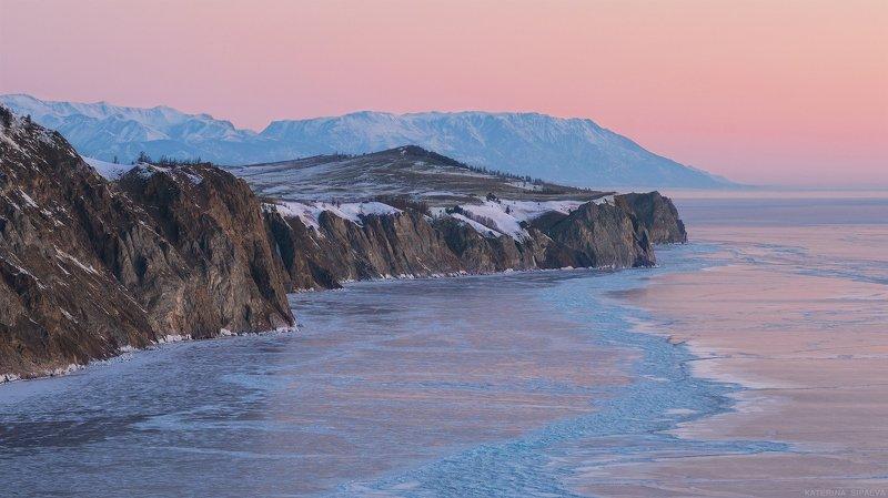 байкал, пейзаж, рассвет, природа, путешествие, сибирь Утро в розовомphoto preview