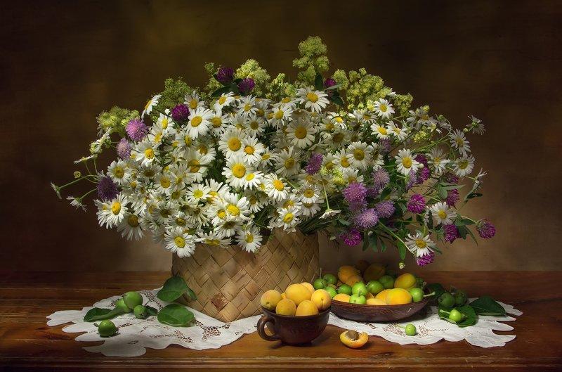 натюрморт, ромашки, абрикосы Ромашковое настроение.... фото превью