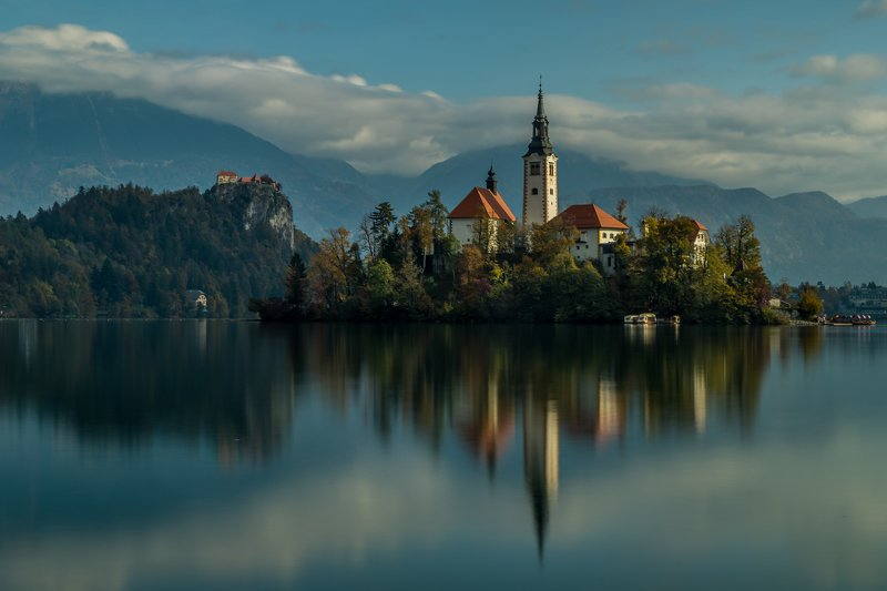 bled, lake, water, castle, landscape, church, long exposure, smooth, architecture, Bled churchphoto preview