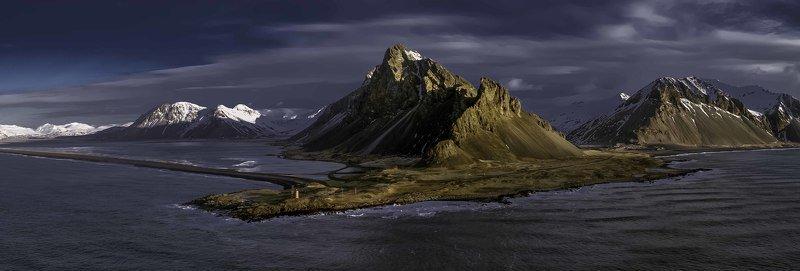 hvalnes,iceland,горы,рассвет,аэрофотосъёмка,пейзаж hvalnes lighthouse... фото превью