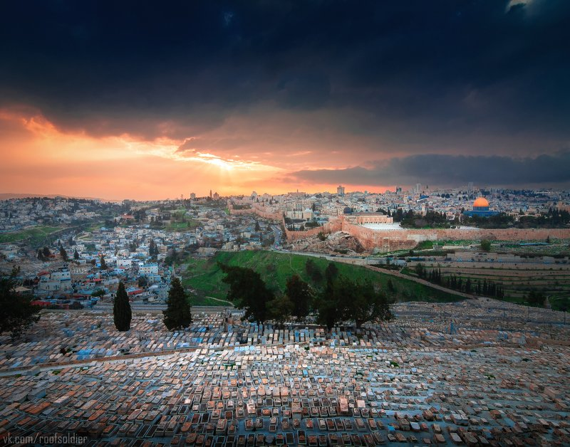 Иерусалим, Израиль, Палестина, Старый Город, Архитектура, религия, храм, церковь, закат, рассвет, город, пейзаж, открытка, крыша, architecture, urban, sunset, sunrise, religion, church, cathedral, old city, jerusalem, israel, palestine, cemetery, кладбище Иерусалимphoto preview