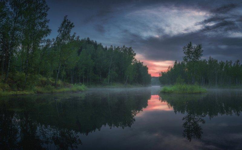 лето, рассвет, тульская область, озеро, природа Лесное озероphoto preview