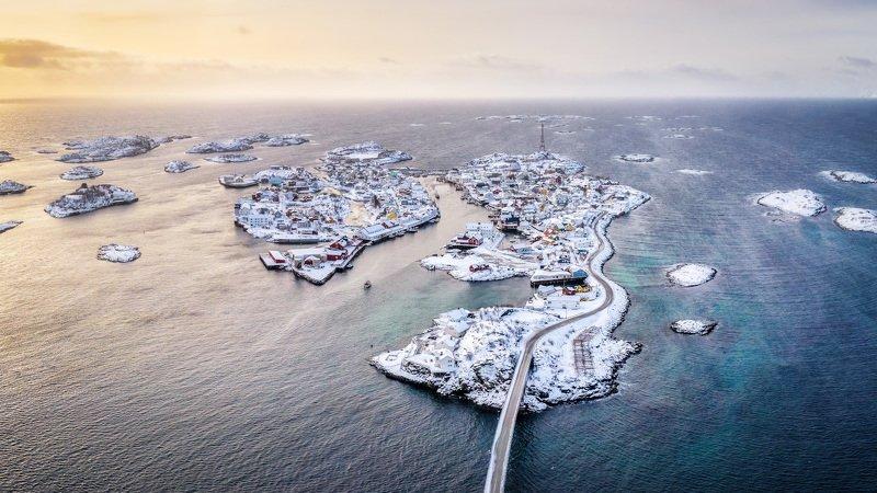 lofoten, norway, norvegian, islands, winter, drone, sunrise Норвежская Венеция фото превью
