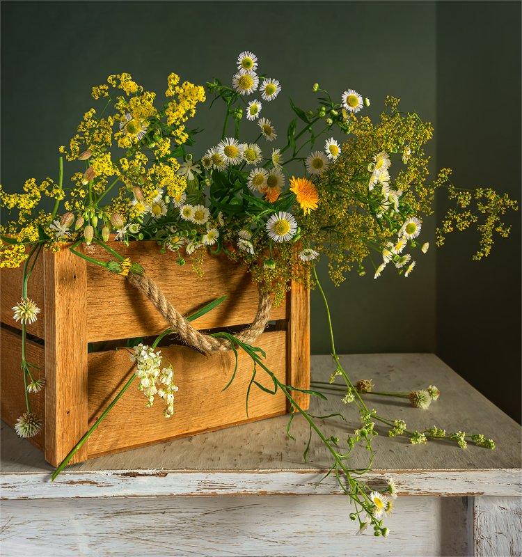 still life, натюрморт,    винтаж,    цветы,  полевые цветы, луговые цветы, ящик натюрморт с полевыми цветамиphoto preview
