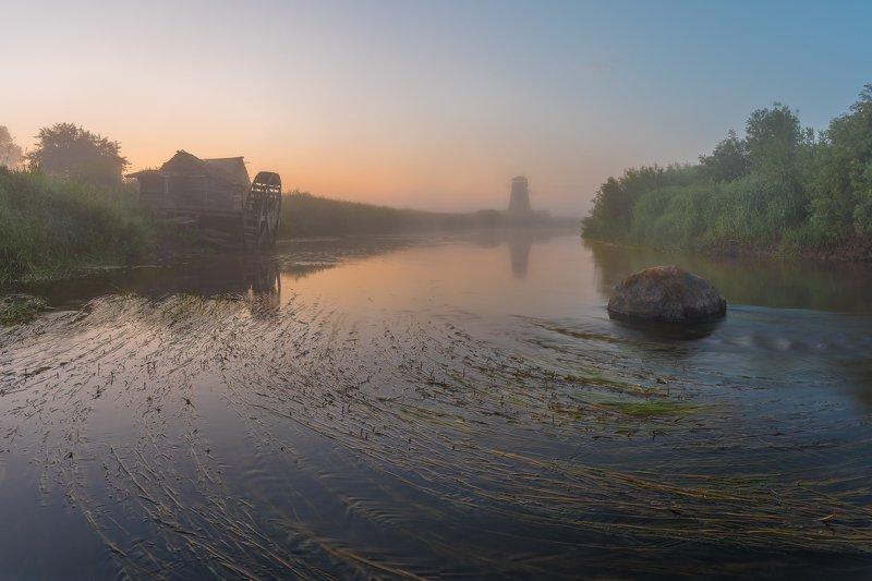 псковская область, сороть, панорама Рассвет на Соротиphoto preview