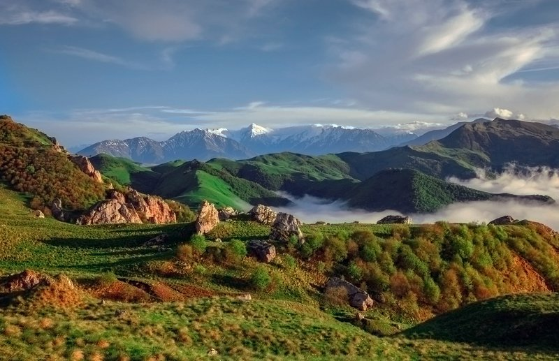 чечня,горы,туман,галандчжойский район, Вечерний пейзаж..photo preview