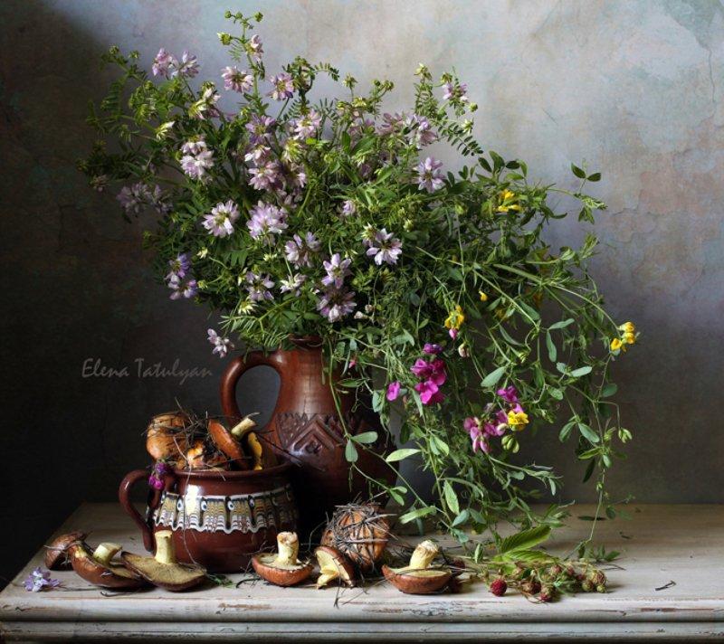 грибы, маслята, полевые цветы, букет Летние радостиphoto preview