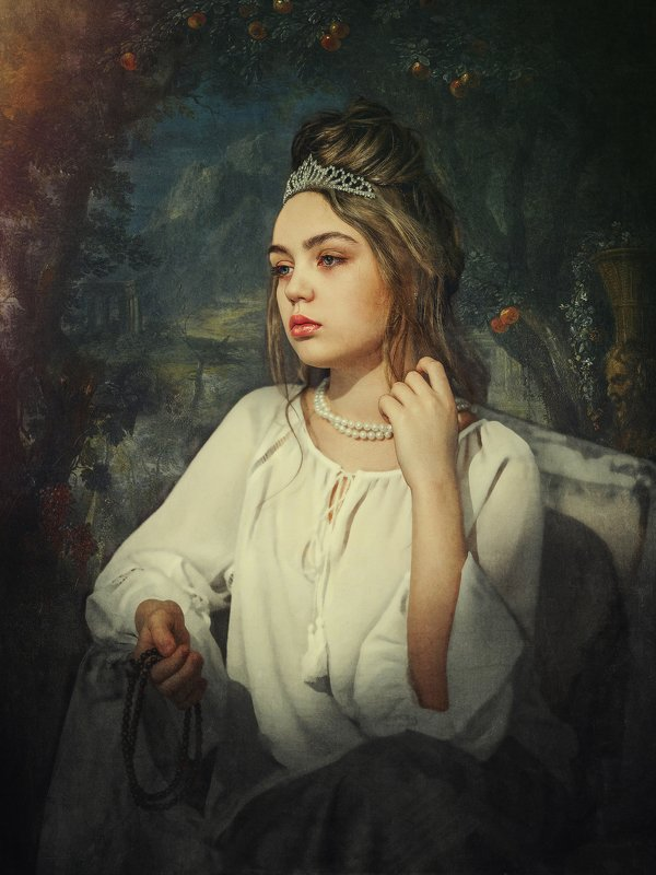 fine art, классика, стилизация, портрет Грустная принцессаphoto preview