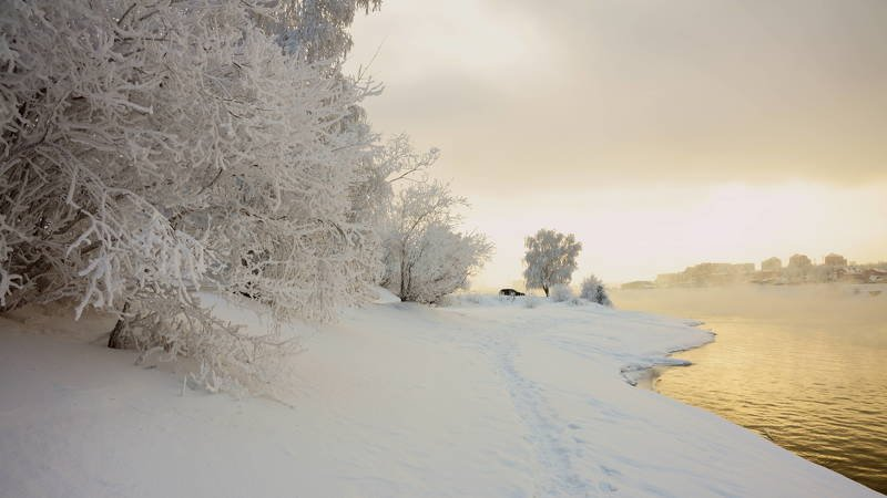 russia, irkutsk, angara, river, winter, rime ice, riverside, tree, city, cityscape, sky, cloud, afternoon, travel, beautiful, Rime ice of Angara Riverphoto preview