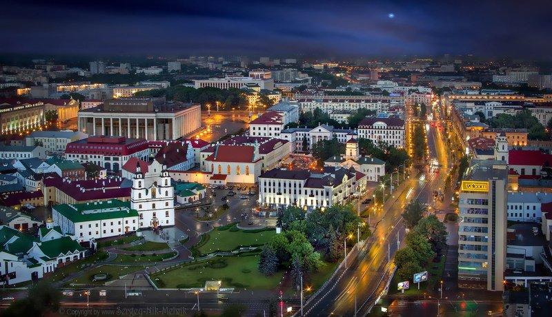 беларусь, город, минск, вечер, фотосфера-минск Google Maps над городомphoto preview