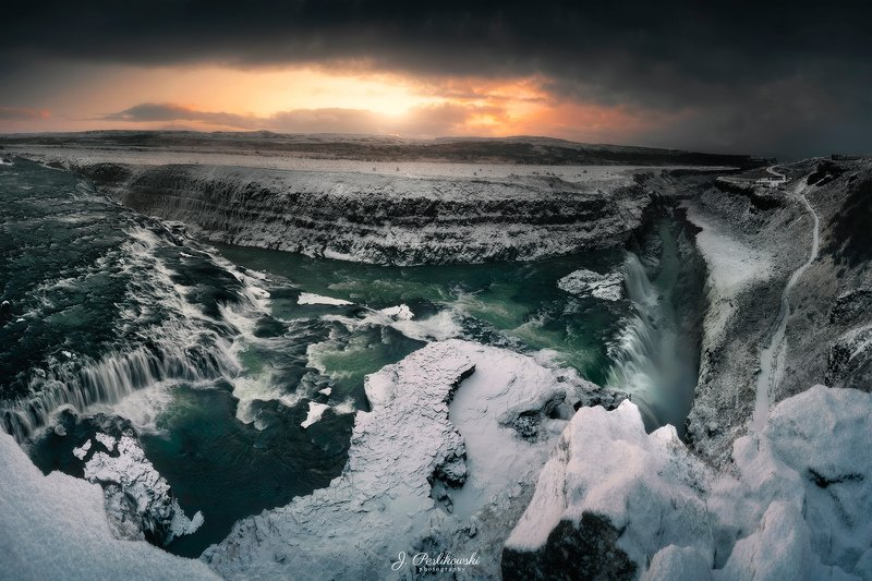 iceland, winter, snow, waterfall, sunrise, landscape, cold Icelandphoto preview