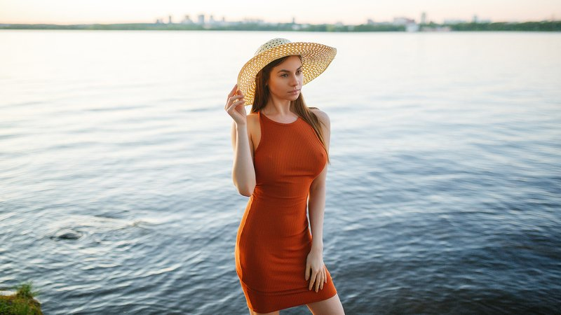 portrait, russian girl, nature, sunset, water, beauty Olgaphoto preview