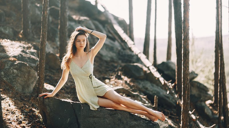 portrait, russian girl, nature, sunset, beauty, forest Yanaphoto preview