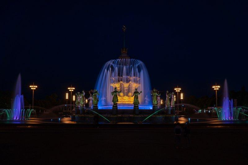фонтан, москва, вднх, архитектура, город, ночь, ночной город ***photo preview