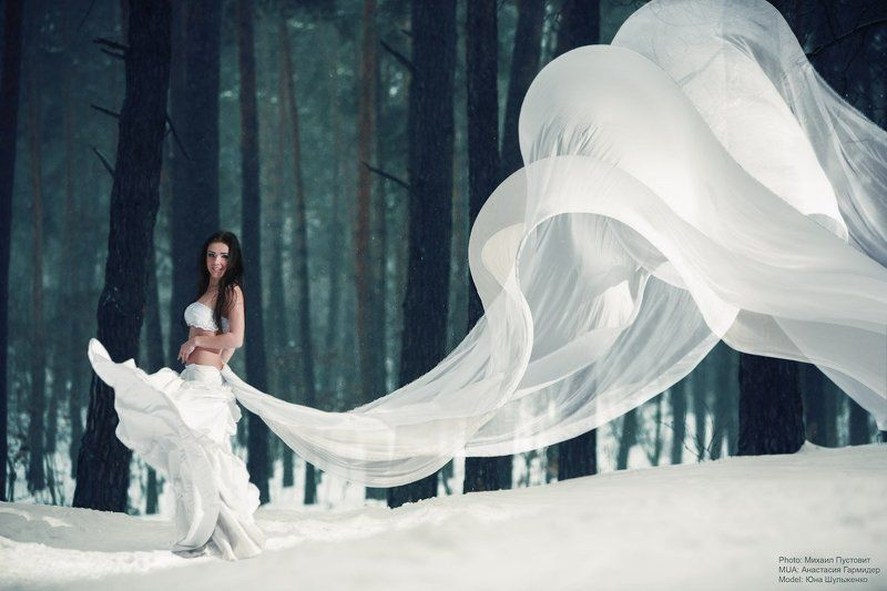 girl, cloth, wind, snow, forest ***photo preview