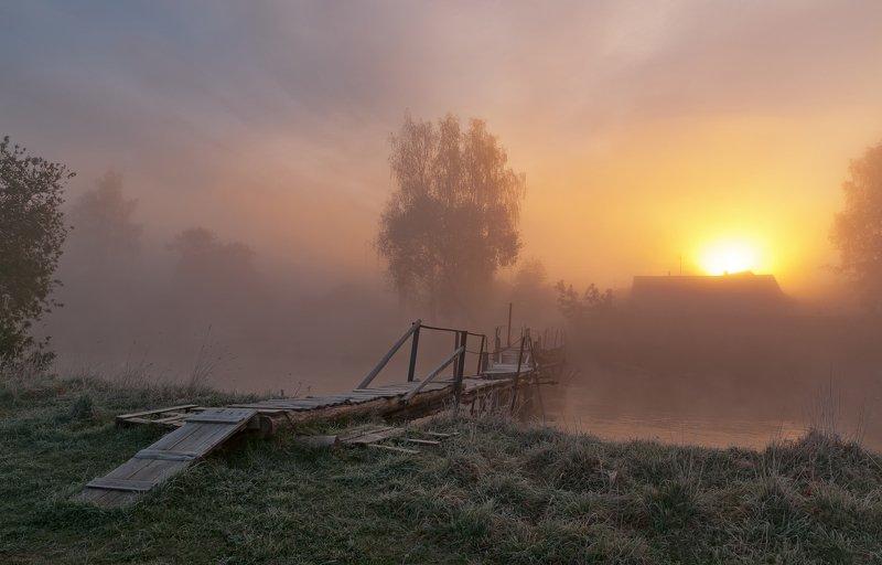 утро, свислочь, туман, пейзаж ***photo preview