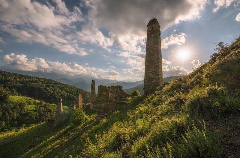 кавказ, ингушетия, башни, заповедник, эрзи,пялинг, вечер, июль Ингушские башниphoto preview