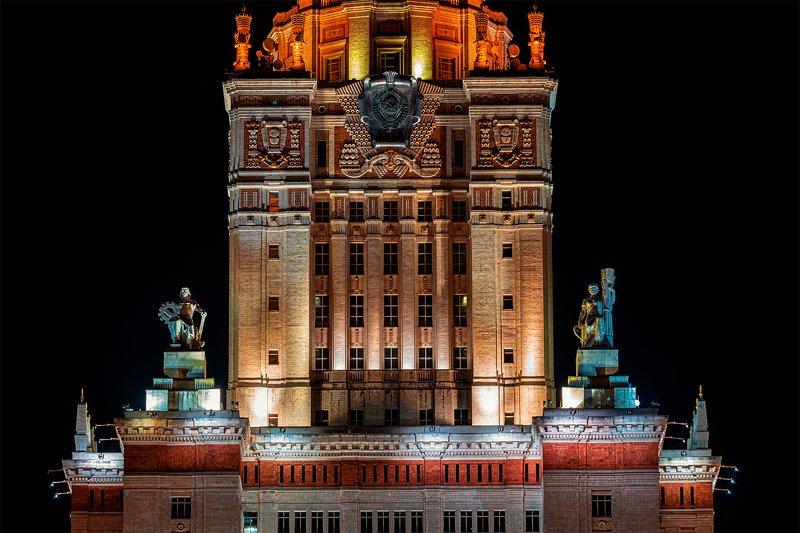 мгу, архитектура, ночь Фрагмент главного здания МГУphoto preview
