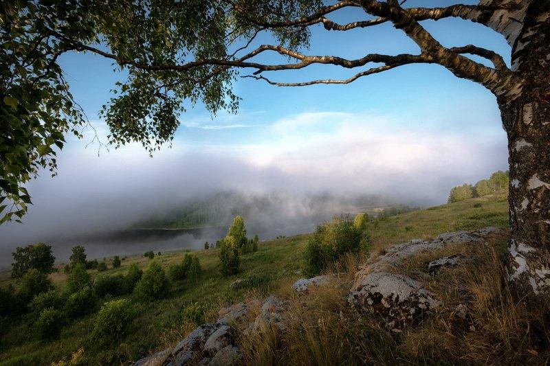 губаха, пермь, горы, косьва, река, облака, рассвет, утро, береза, камни, лес Начало дня над Косьвойphoto preview