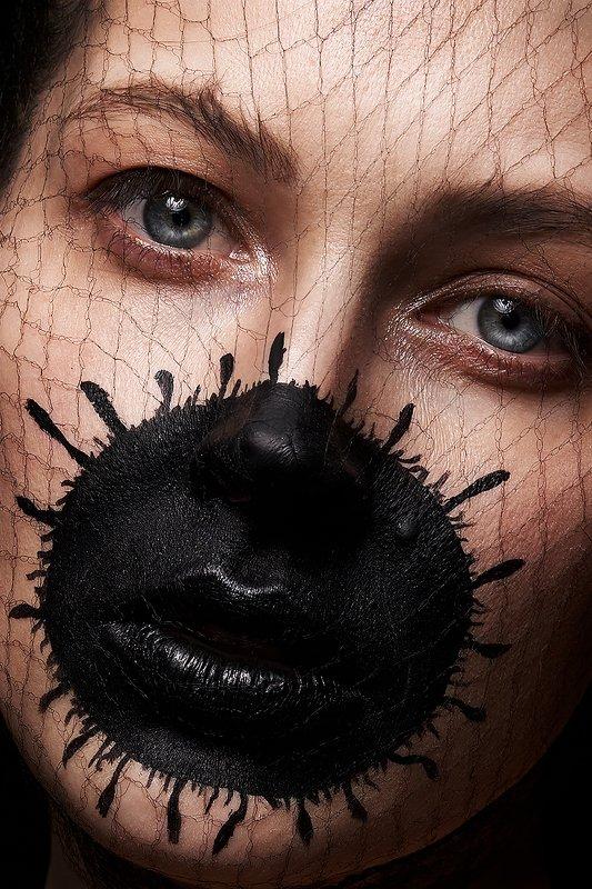 девушка, ковид, концептуально, сети, вирус, красивая, модель, черный, концепт Светаphoto preview