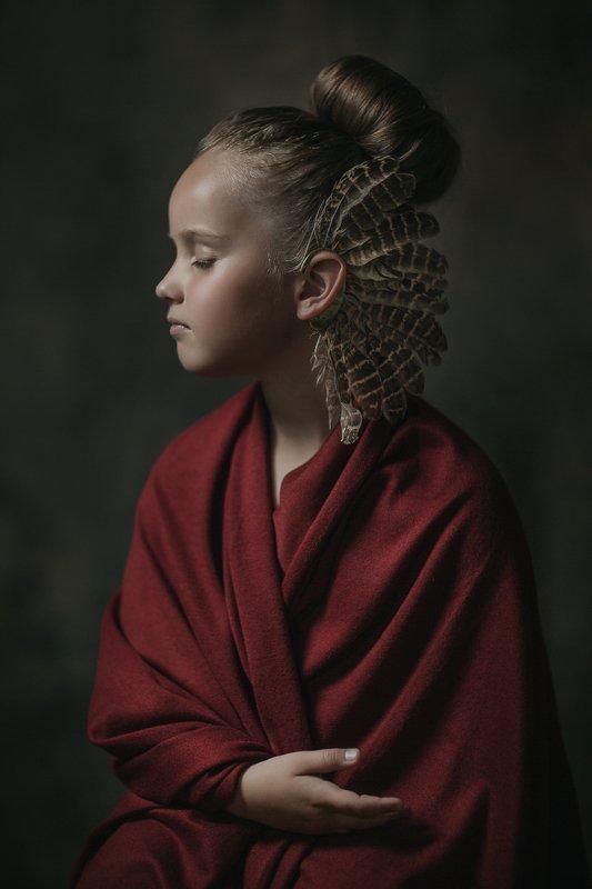 девочка, перья, red, girl, ребёнок, feathers, child, красный Alisaphoto preview